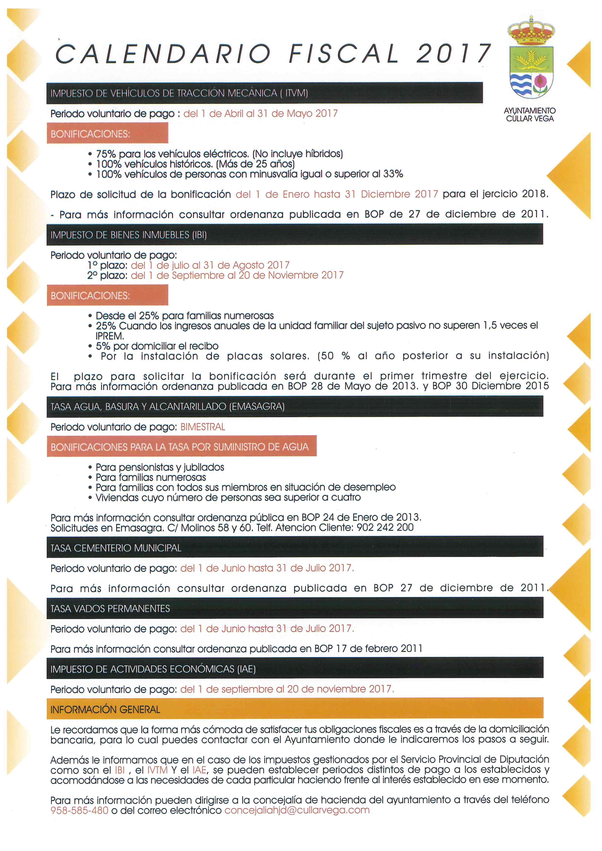 Calendario Fiscal 2017 e Información sobre Bonificaciones