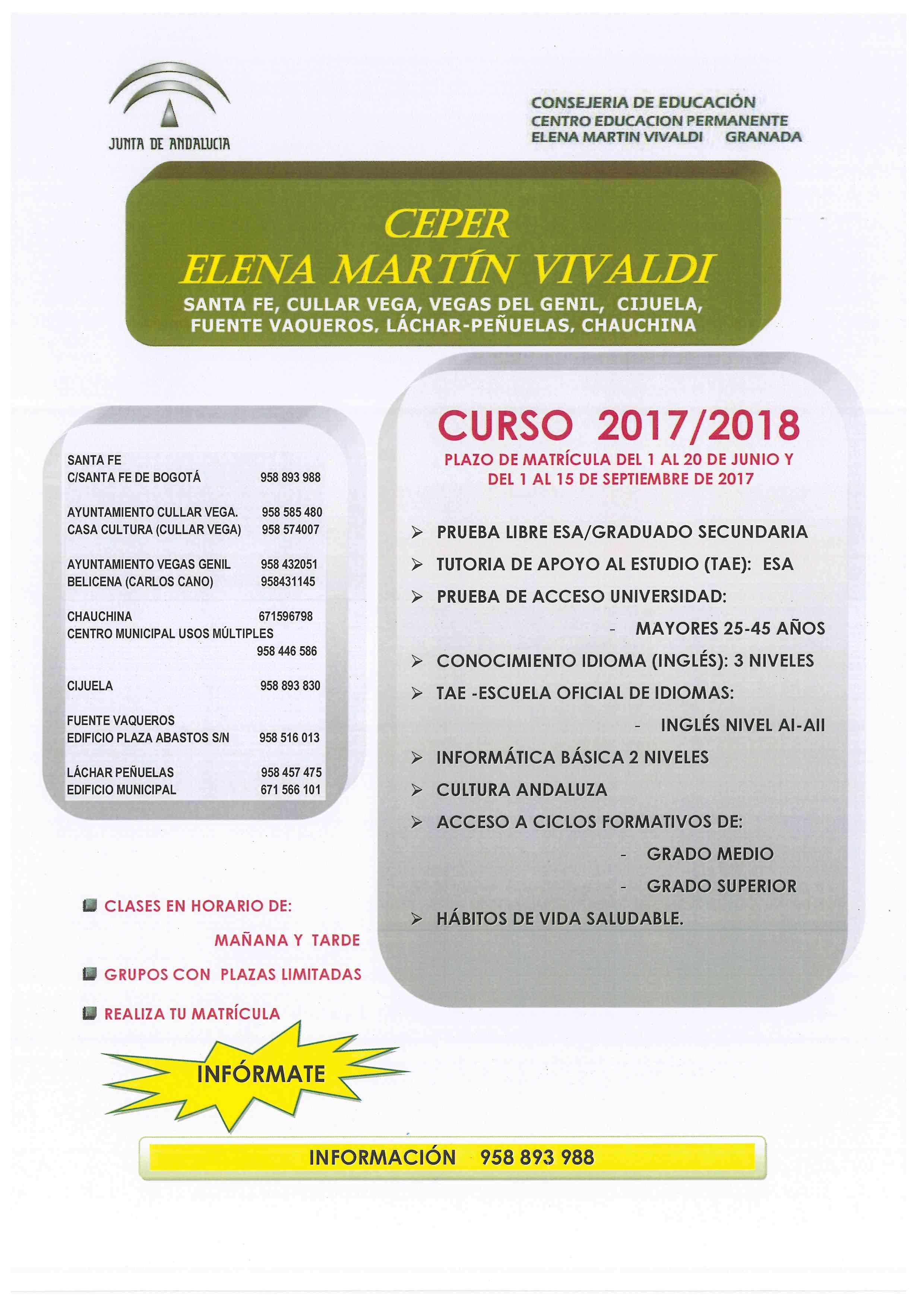 Oferta Educativa Centro de Educación Permanente