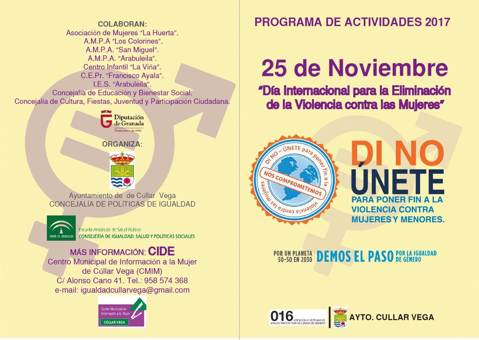 25N: Día Internacional para la Eliminación de la Violencia contra las Mujeres - Actividades 2017