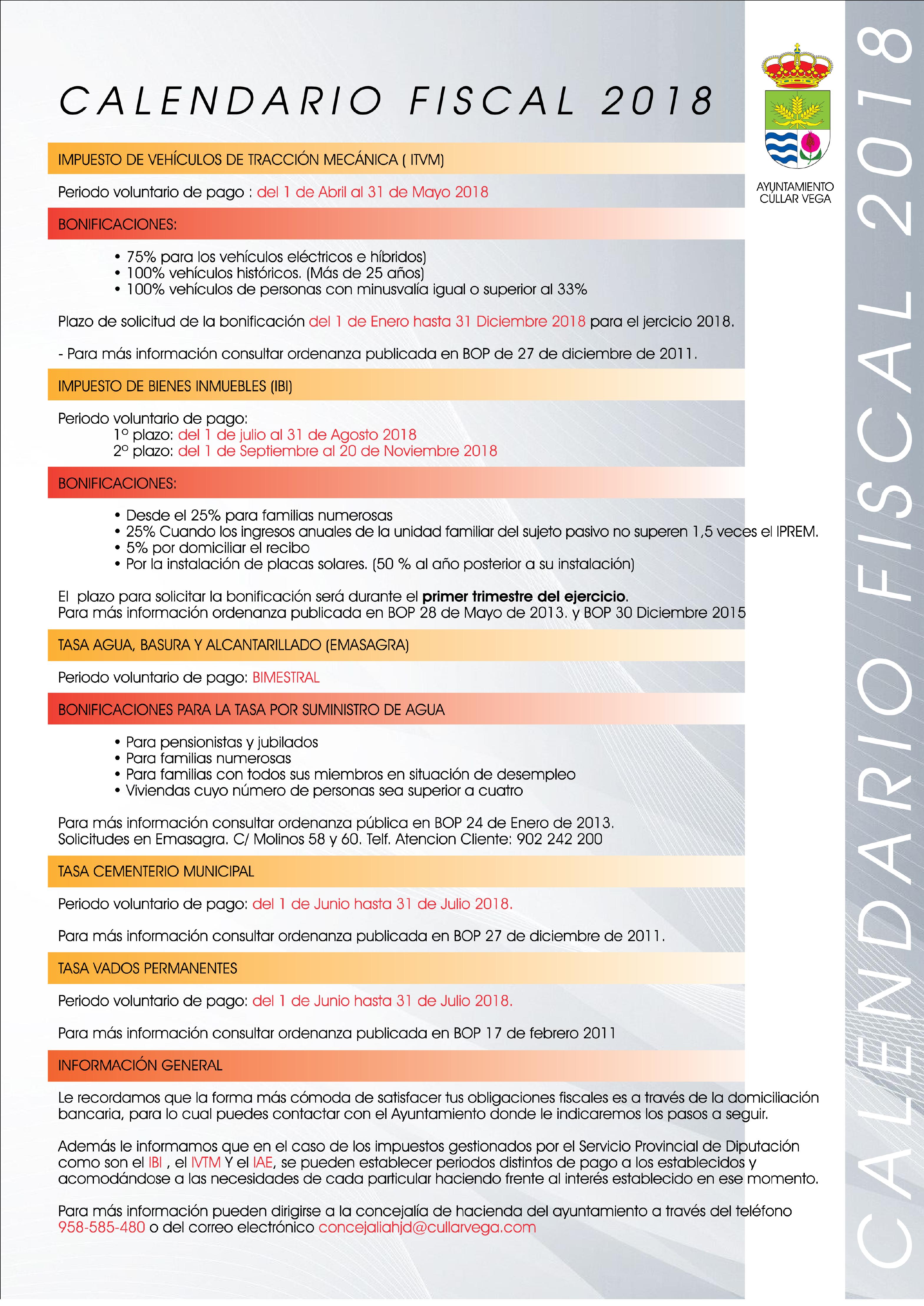 Calendario Fiscal 2018 e Información sobre Bonificaciones