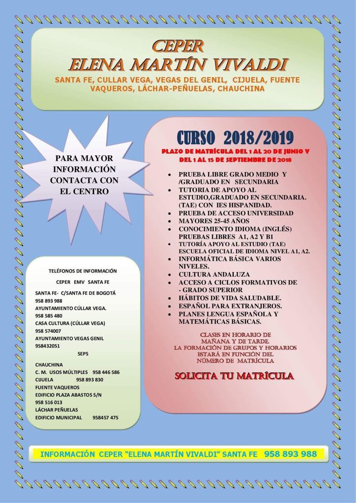 Nuevo plazo de matriculación Centro de Educación Permanente Curso 2018/2019