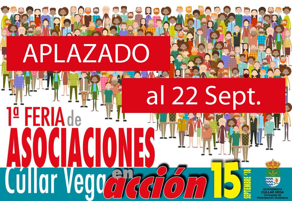 Aplazada la I Feria de Asociaciones para el próximo Sábado 22 de septiembre
