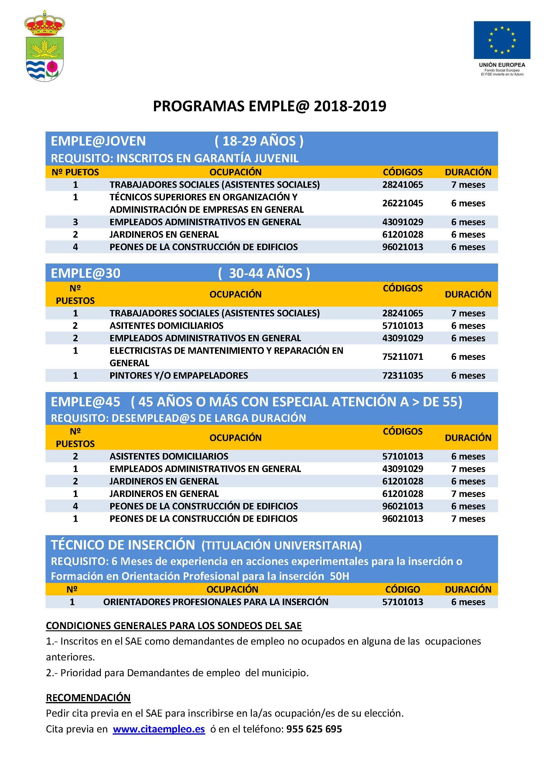 Códigos de ocupación de los programas emple@ del Ayuntamiento de Cúllar Vega