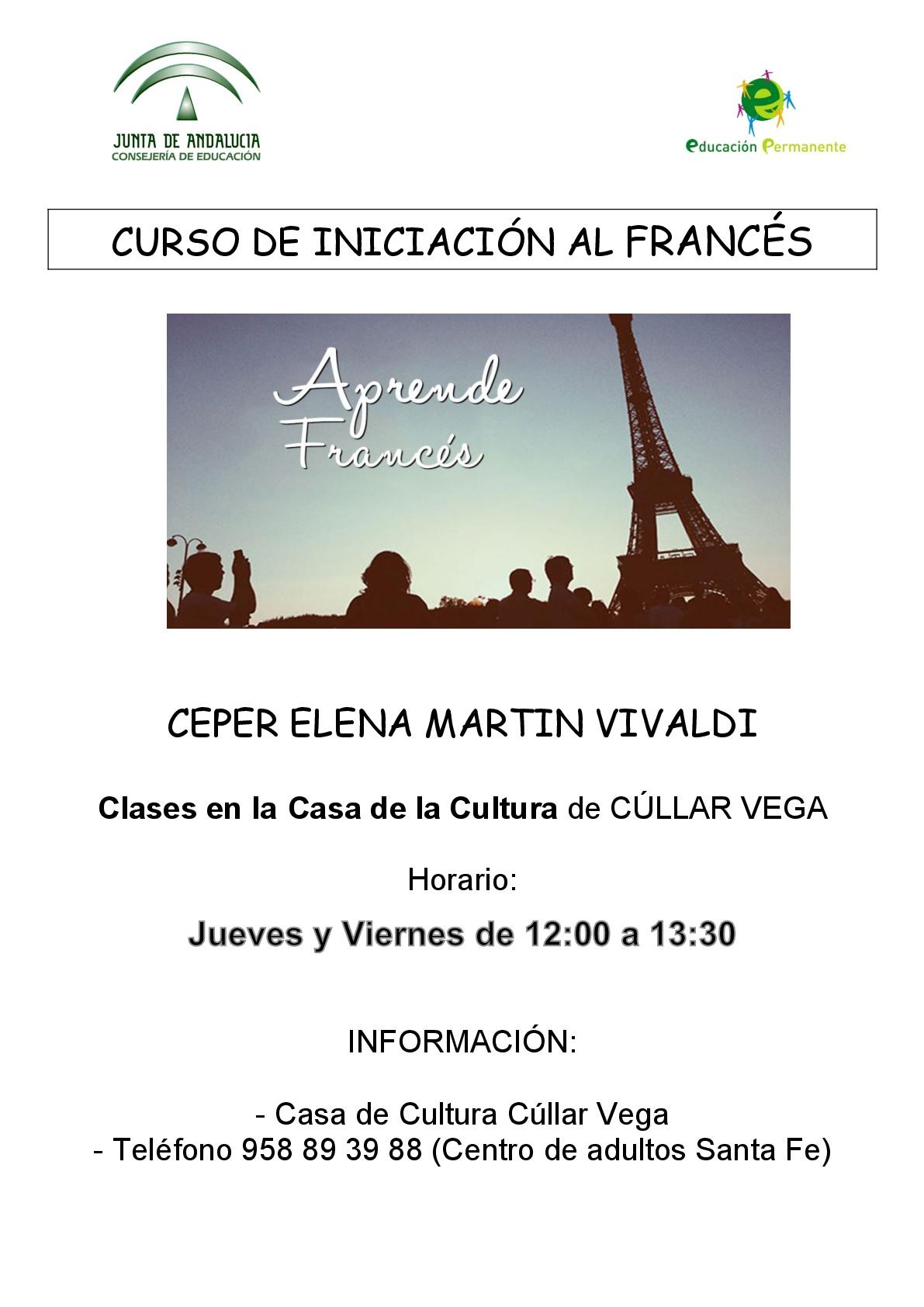 Curso de Iniciación al francés en el Ceper Elena Martín Vivaldi