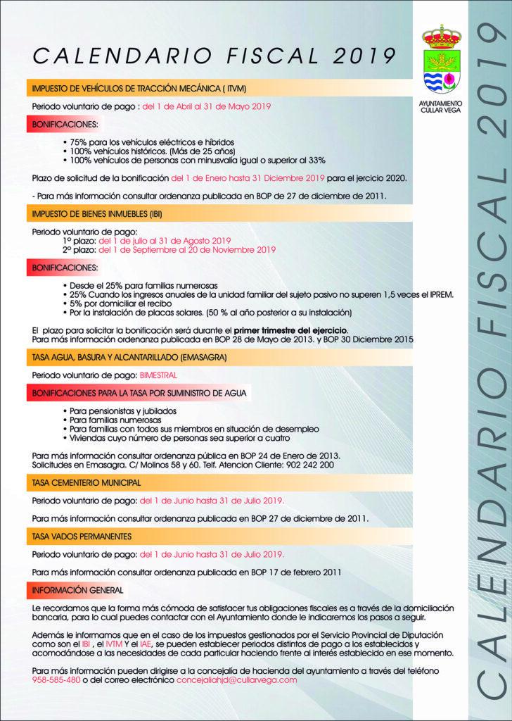 Calendario Impuestos 2020.Calendario Fiscal 2019 Cullar Vega