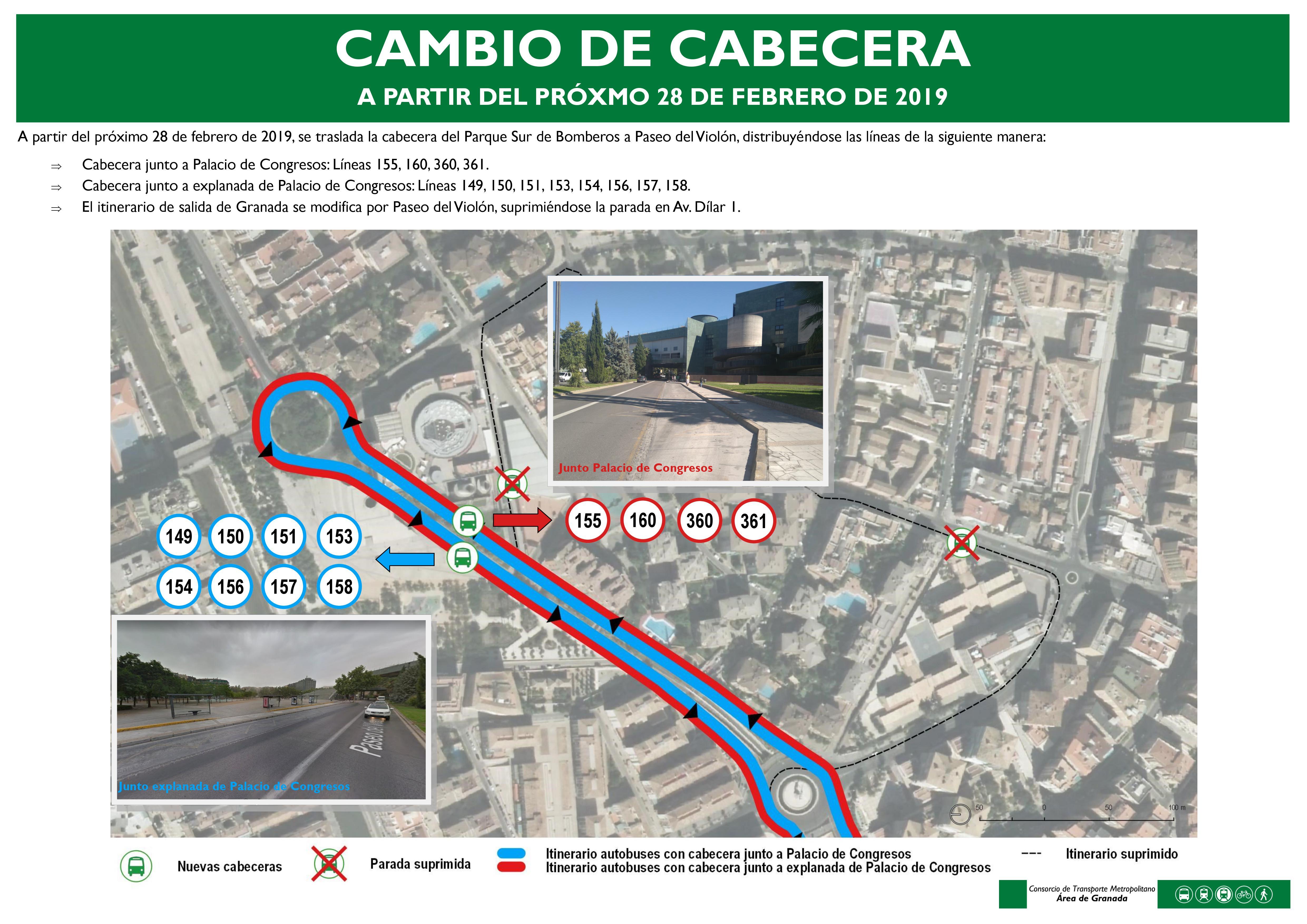 Traslado de cabecera en Granada de varias líneas de autobuses