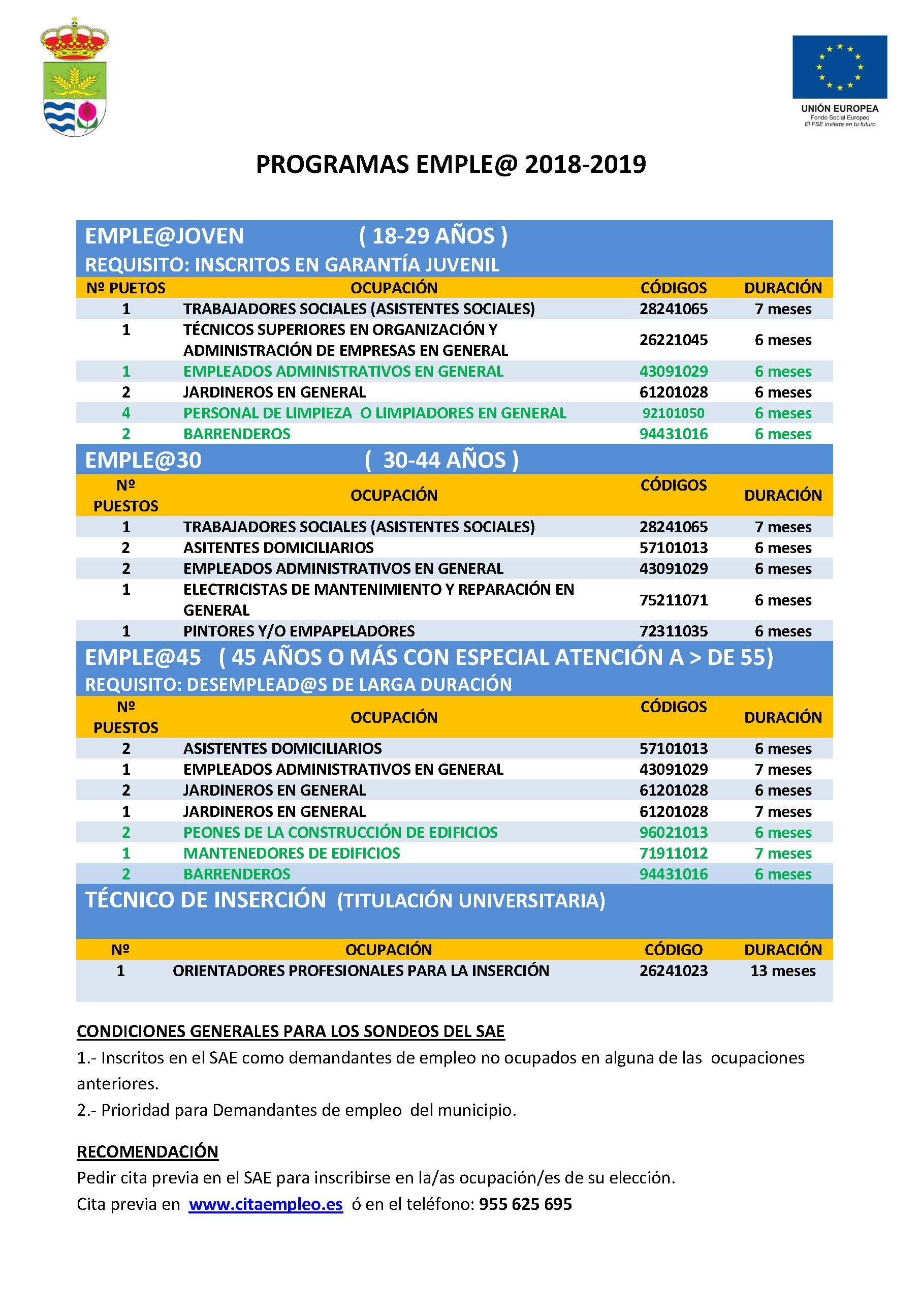 PUBLICACIÓN DE MODIFICACIÓN DE CÓDIGOS DE OCUPACIÓN PROGRAMAS EMPLE@ 2018-2019