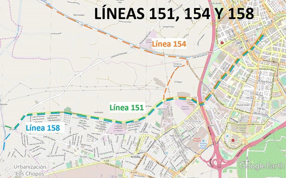 Afección por Obras al Recorrido de los Buses de la Línea 151 (Cullar Vega Directa)