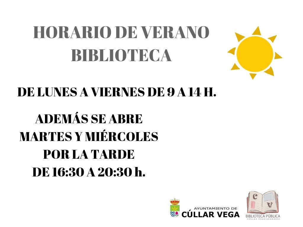 Horario de Verano 2019 en la Biblioteca
