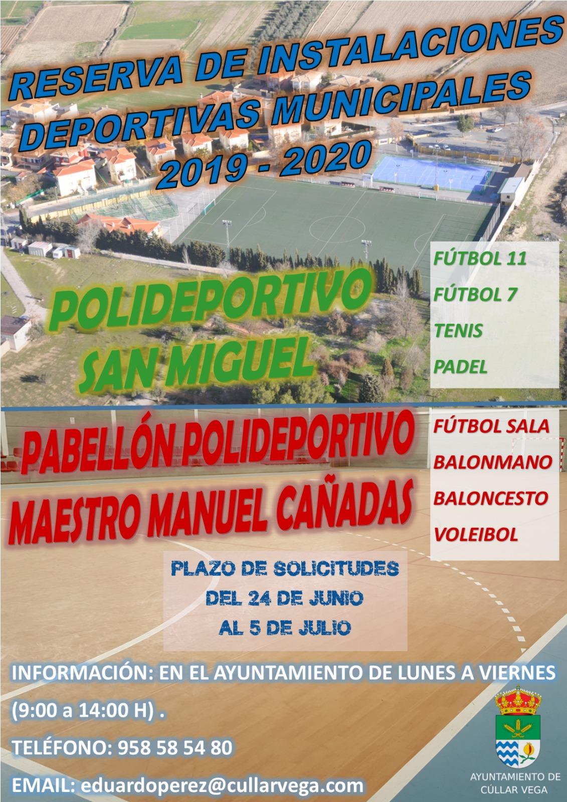 RESERVA DE INSTALACIONES DEPORTIVAS MUNICIPALES. TEMPORADA 2019-2020