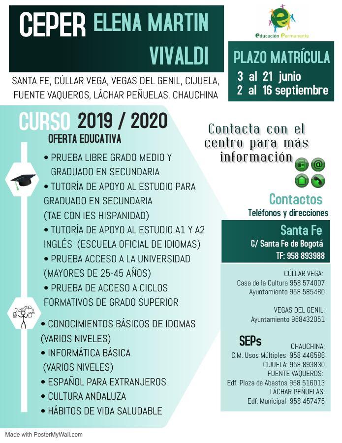 Oferta Educativa Centro de Educación Permanente Curso 2019/2020