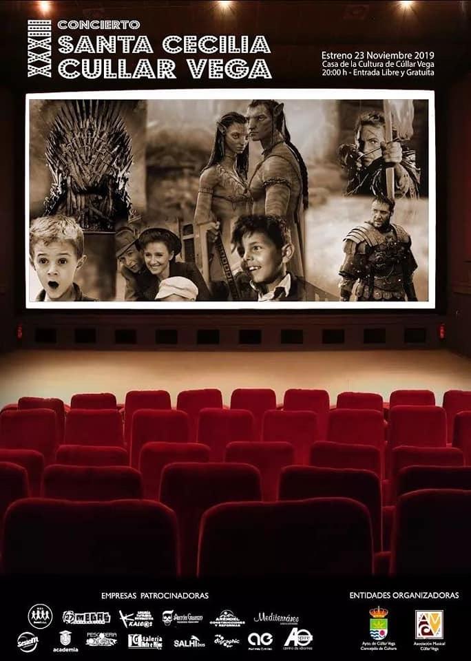 Un concierto de la banda de música de Cúllar Vega repasará la historia del cine a través de las bandas sonoras