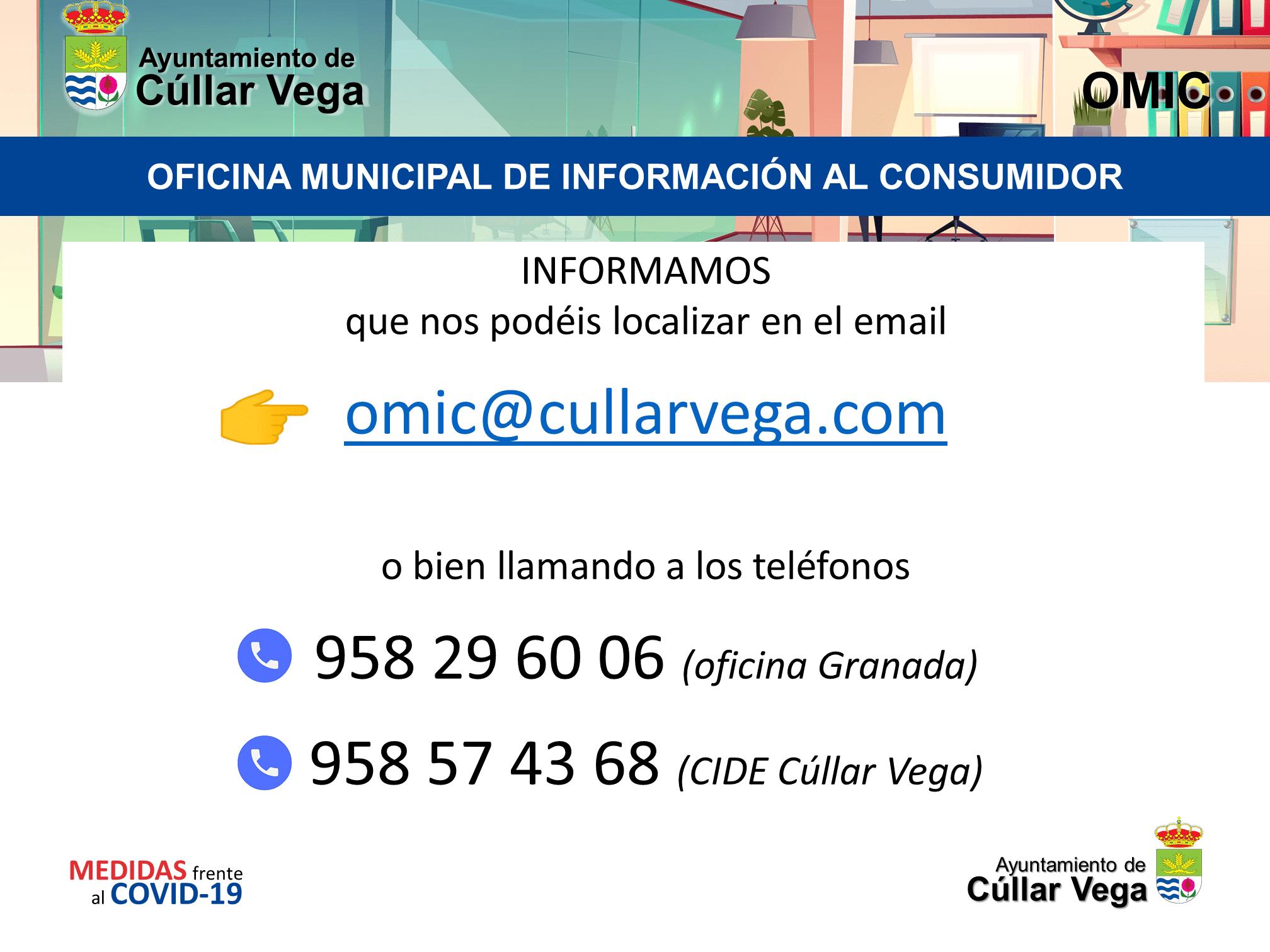 Información de contacto con la Oficina del Consumidor de Cúllar Vega