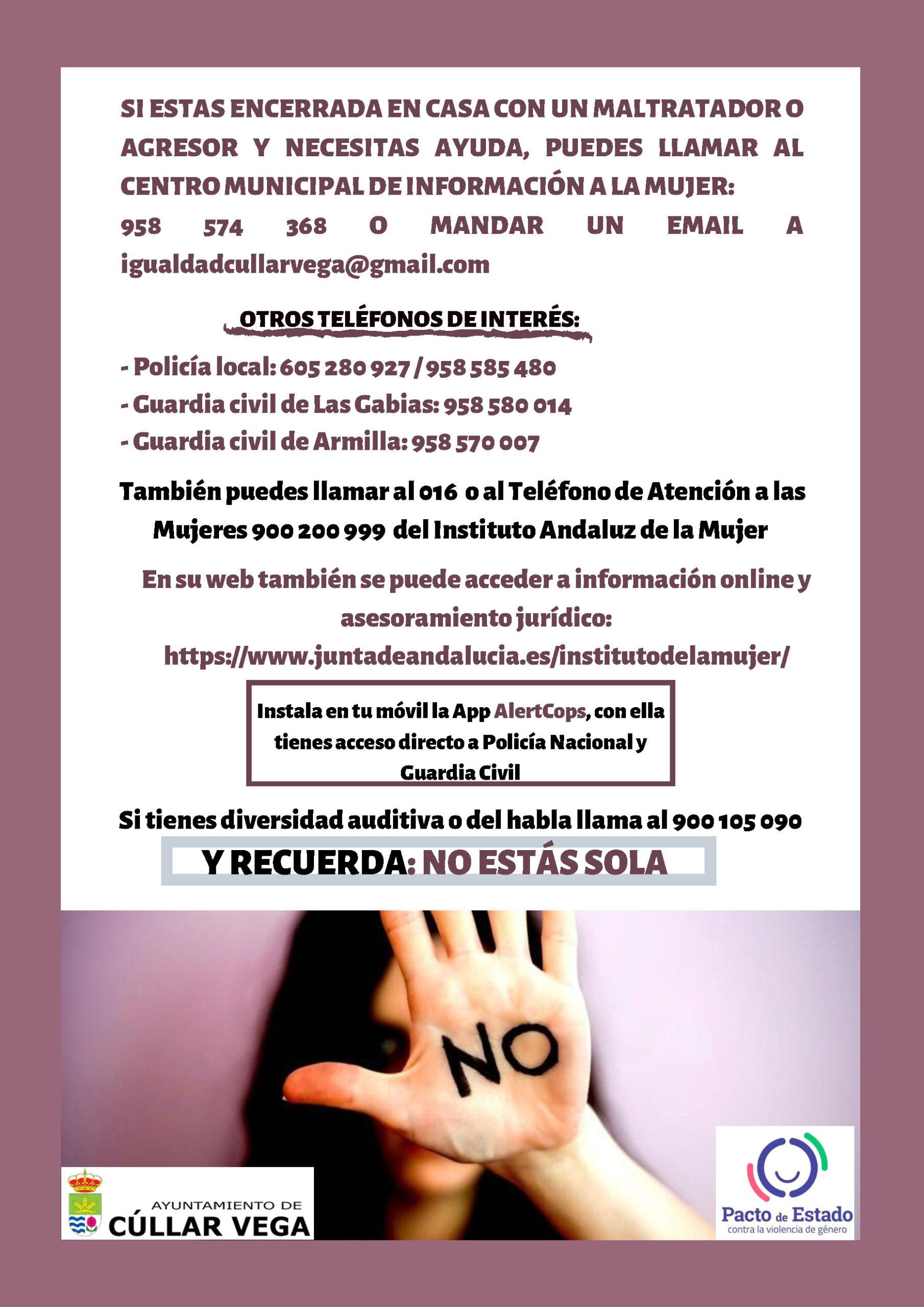 Medidas de autoprotección ante situaciones de violencia de género durante el confinamiento