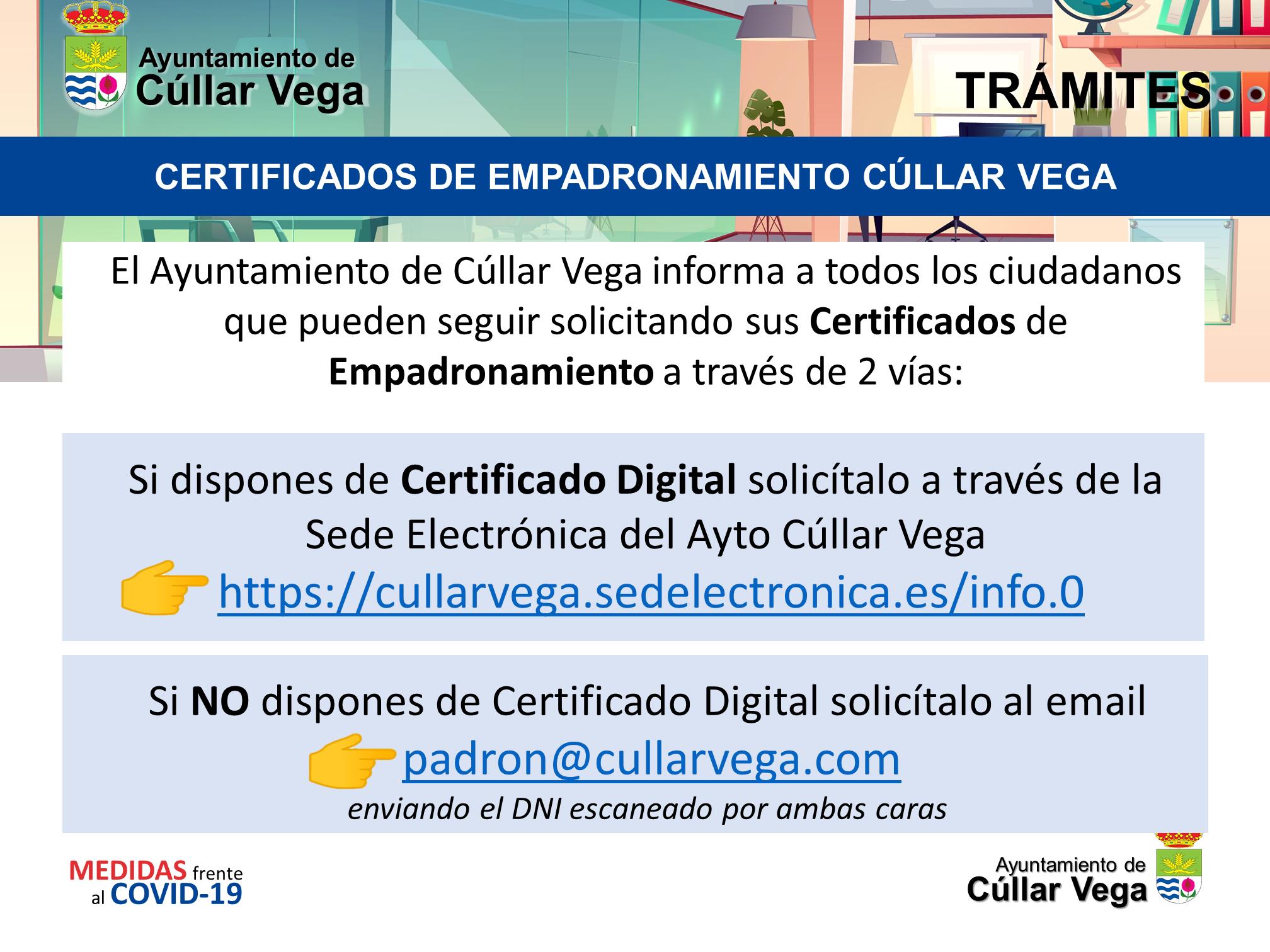 Procedimientos para solicitar Certificados de Empadronamiento en Cúllar Vega