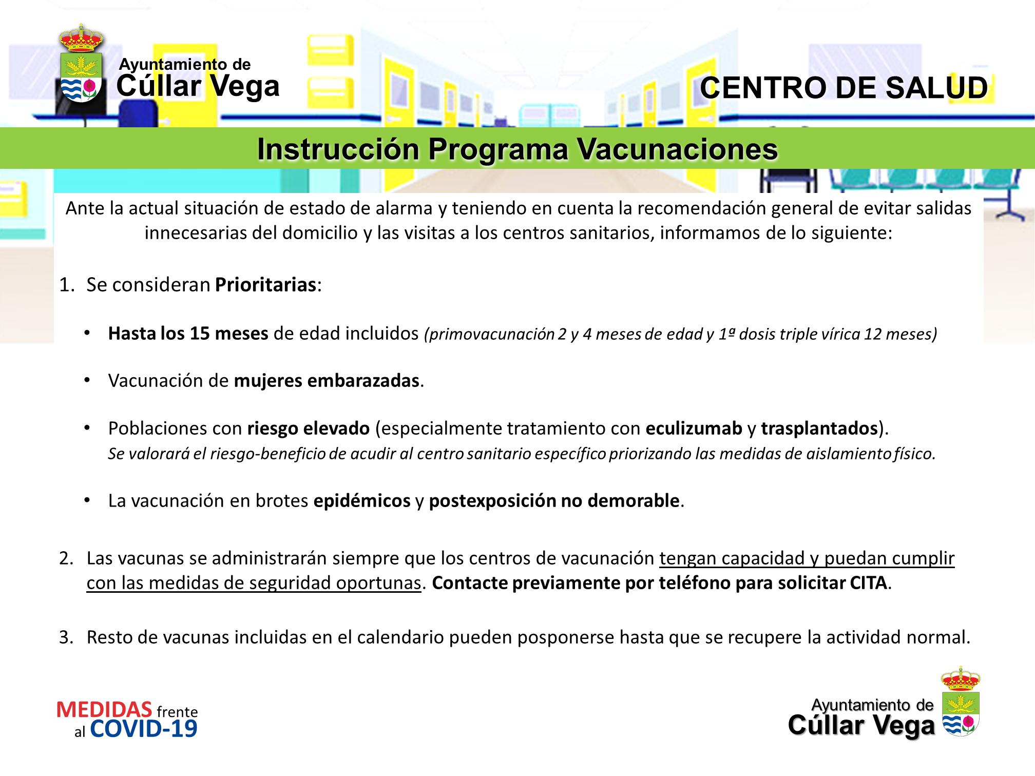 Instrucción de Programa de Vacunaciones por el Estado de Alarma Covid19