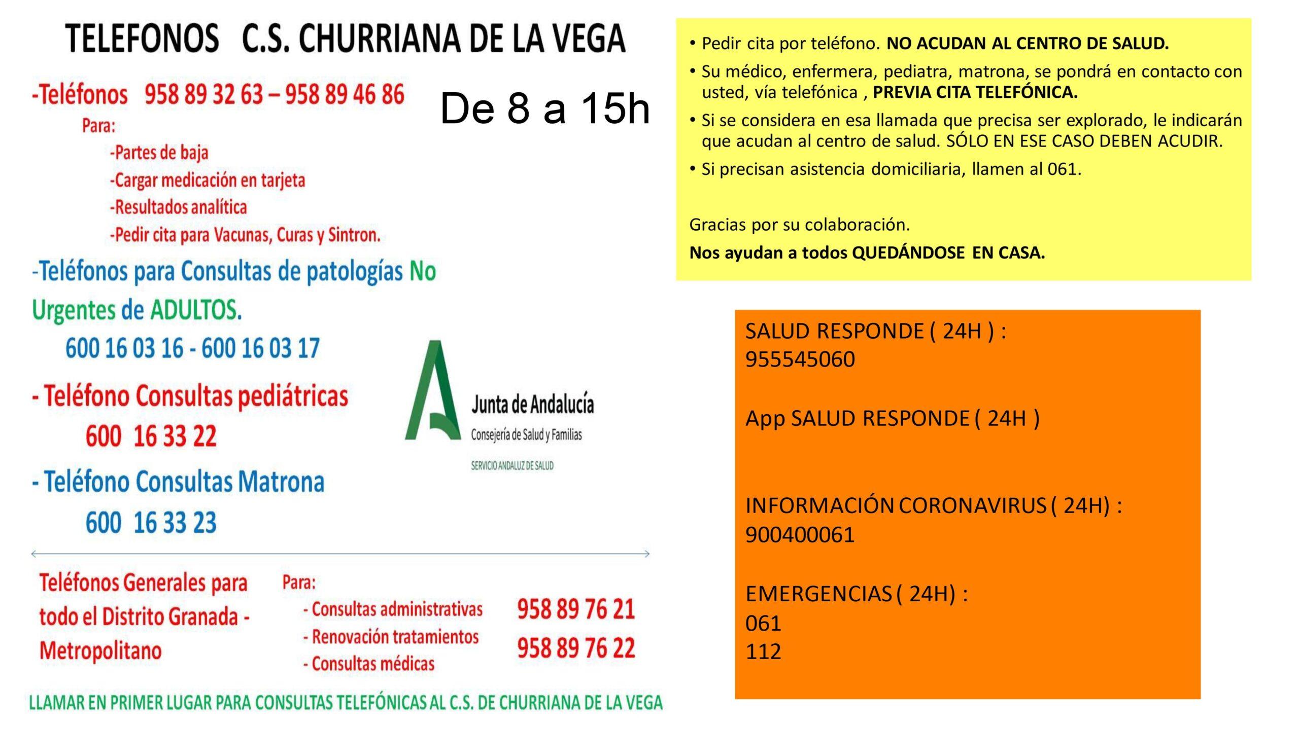 Teléfonos actualizados del Centro de Salud de Churriana de la Vega