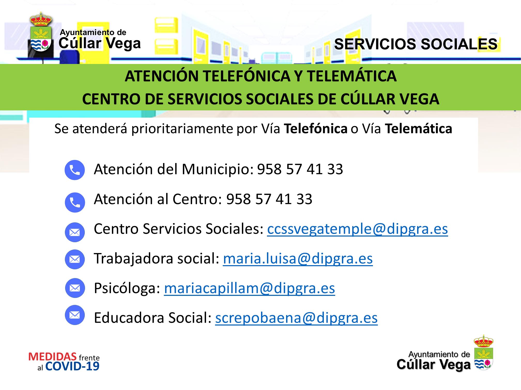 Atención telefónica y telemática del Centro de Servicios Sociales de Cúllar Vega