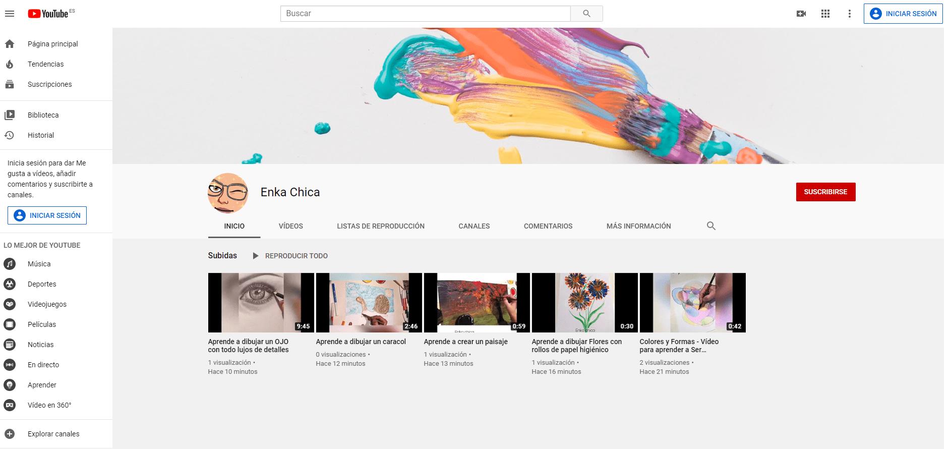Vídeos tutoriales para niños/as y adultos de Enka Chica, monitora de Dibujo y Pintura