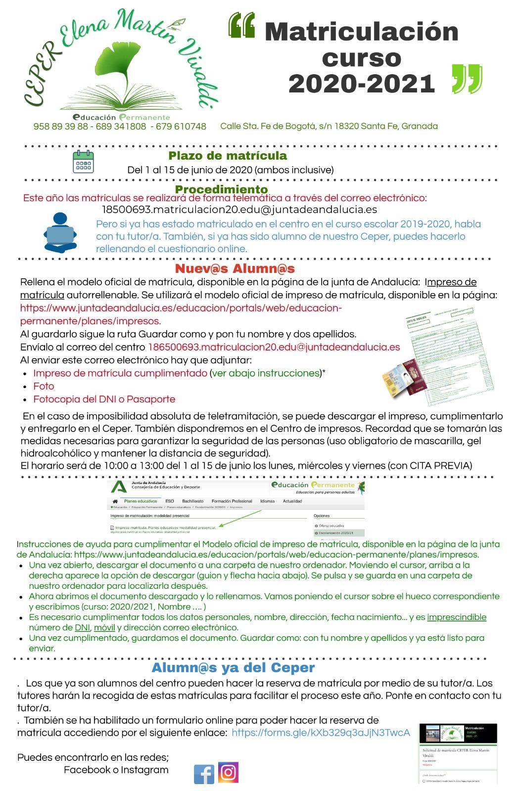 Información para la matriculación en el CEPER Elena Martín Vivaldi