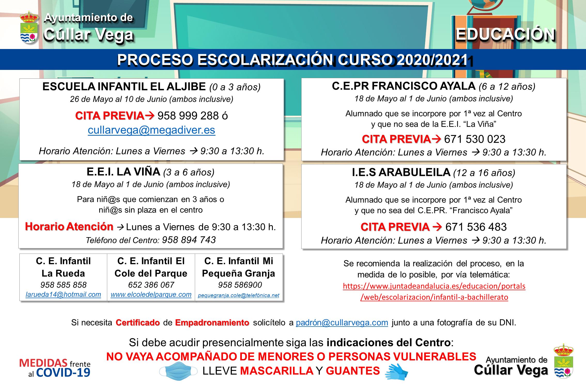 A partir del 18 de mayo se abre el proceso de Escolarización para el curso 2020/2021
