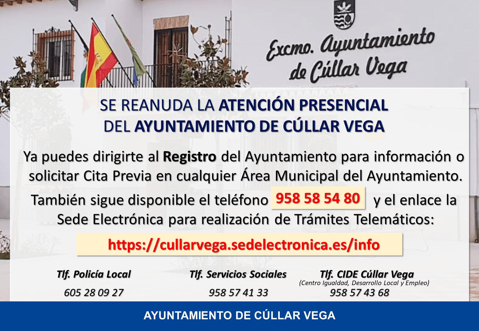 Se reanuda la Atención Presencial del Ayuntamiento de Cúllar Vega