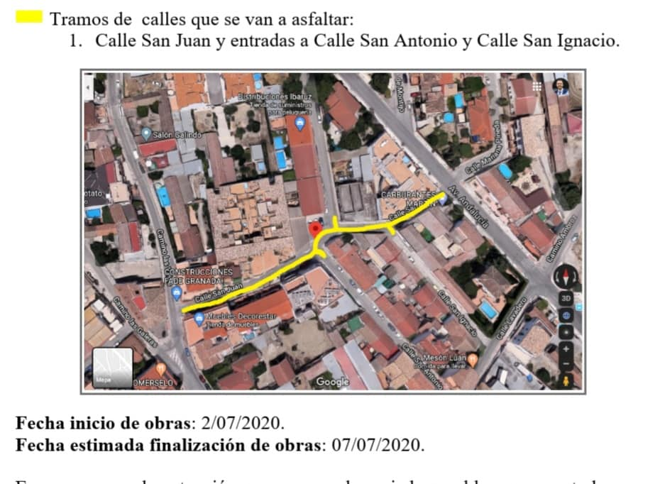 Obras de Asfaltado en Calle San Juan de Cúllar Vega