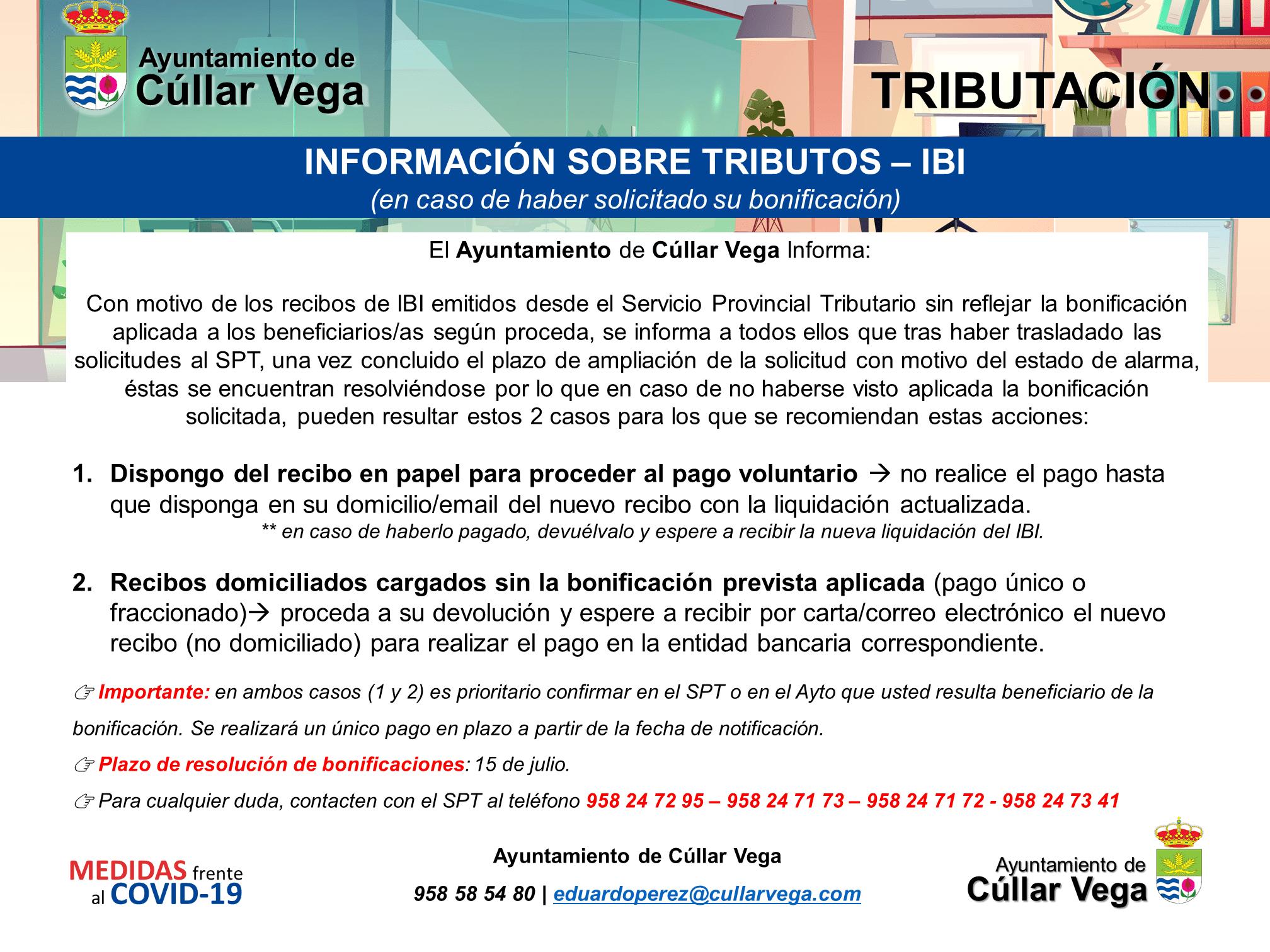 Información sobre el IBI en caso de haber solicitado su bonificación