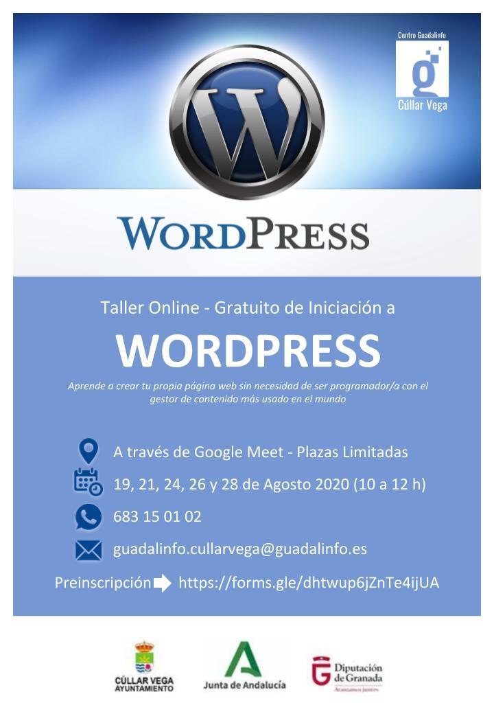 Taller online gratuito de Iniciación a Wordpress
