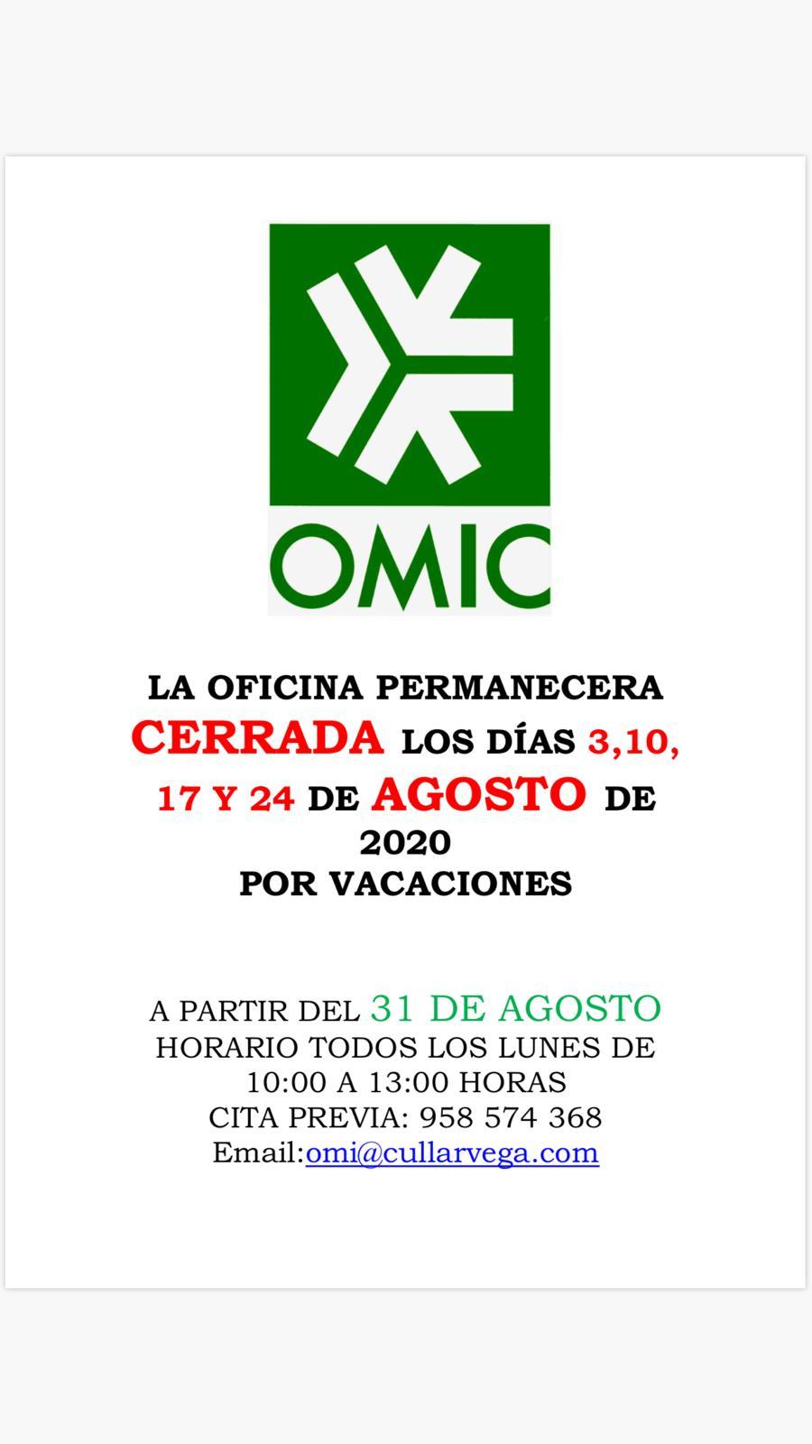 La OMIC permanecerá cerrada unos días por vacaciones