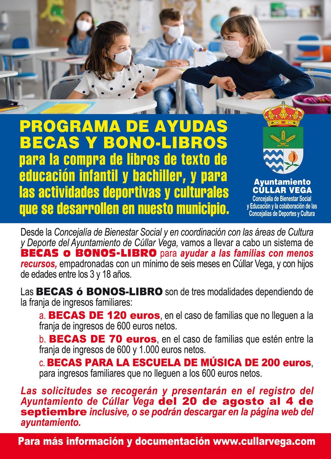 Programa de ayudas becas y bono-libros para la compra de libros de texto y actividades deportivas y culturales