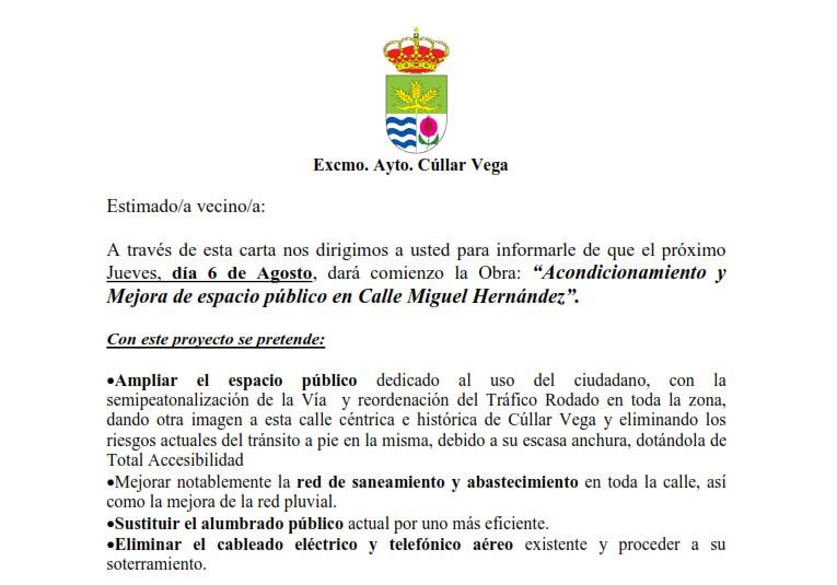 Remodelación Calle Miguel Hernández. Información, Cortes de Tráfico, etc.