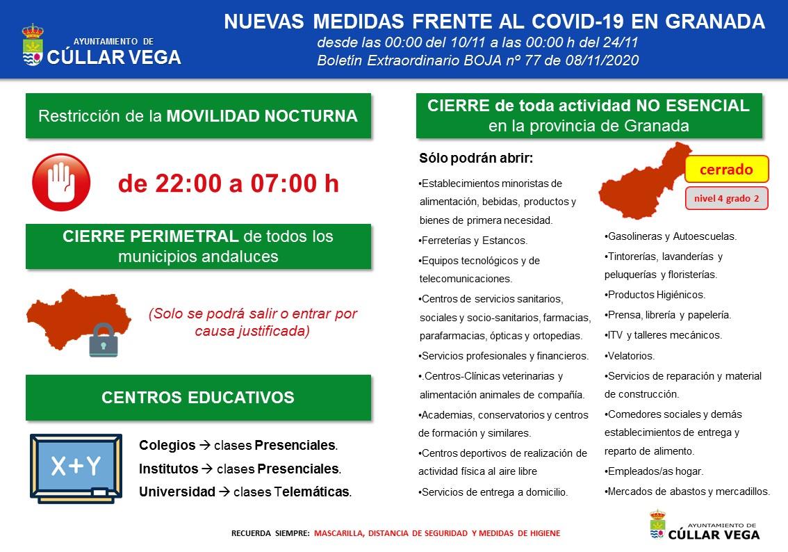 Nuevas medidas frente al COVID-19 en Granada a partir del 10 de noviembre
