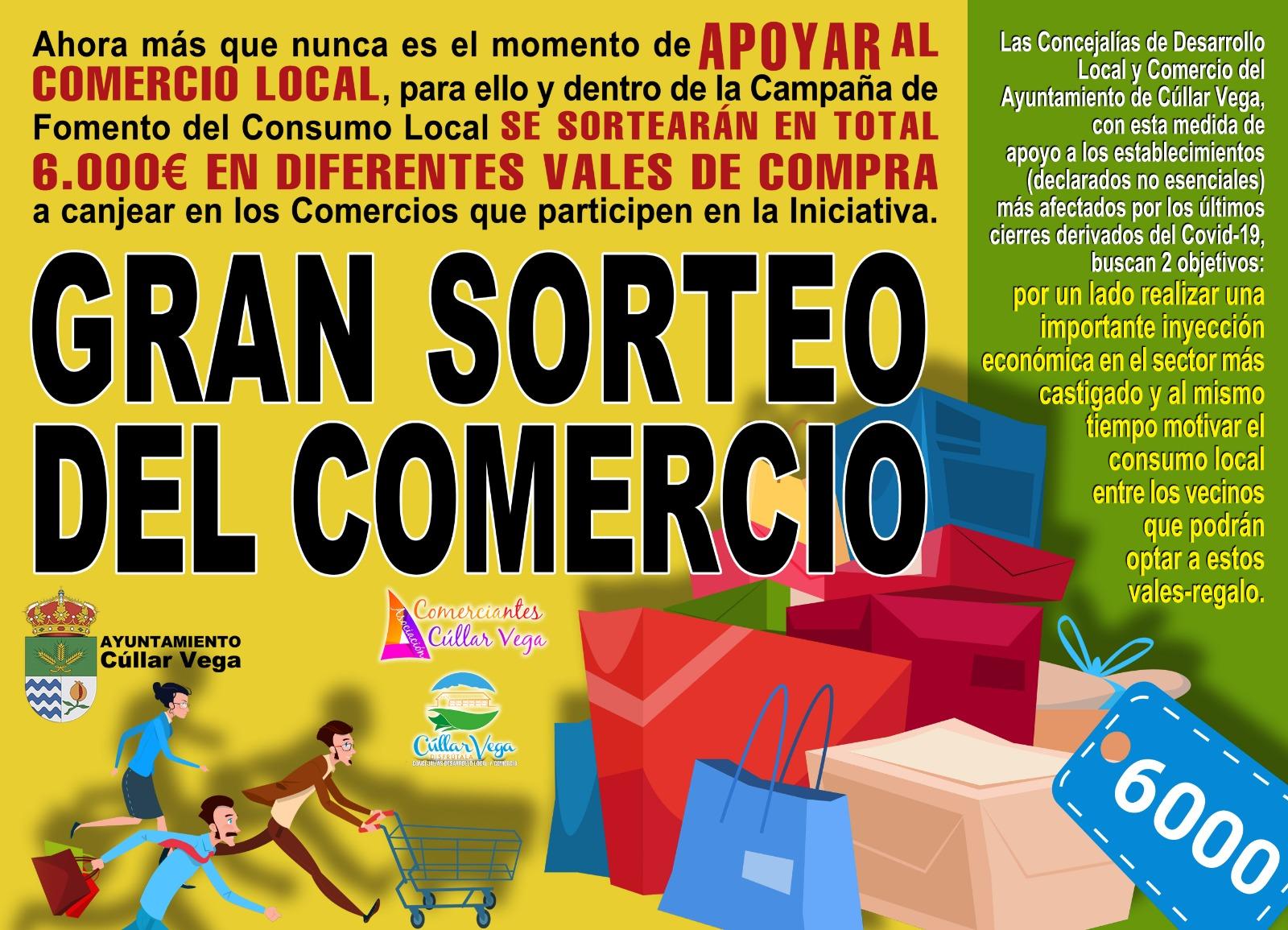 Campaña de Fomento del Consumo Local: Sorteo de 6.000 € en vales para canjear en comercios de Cúllar Vega