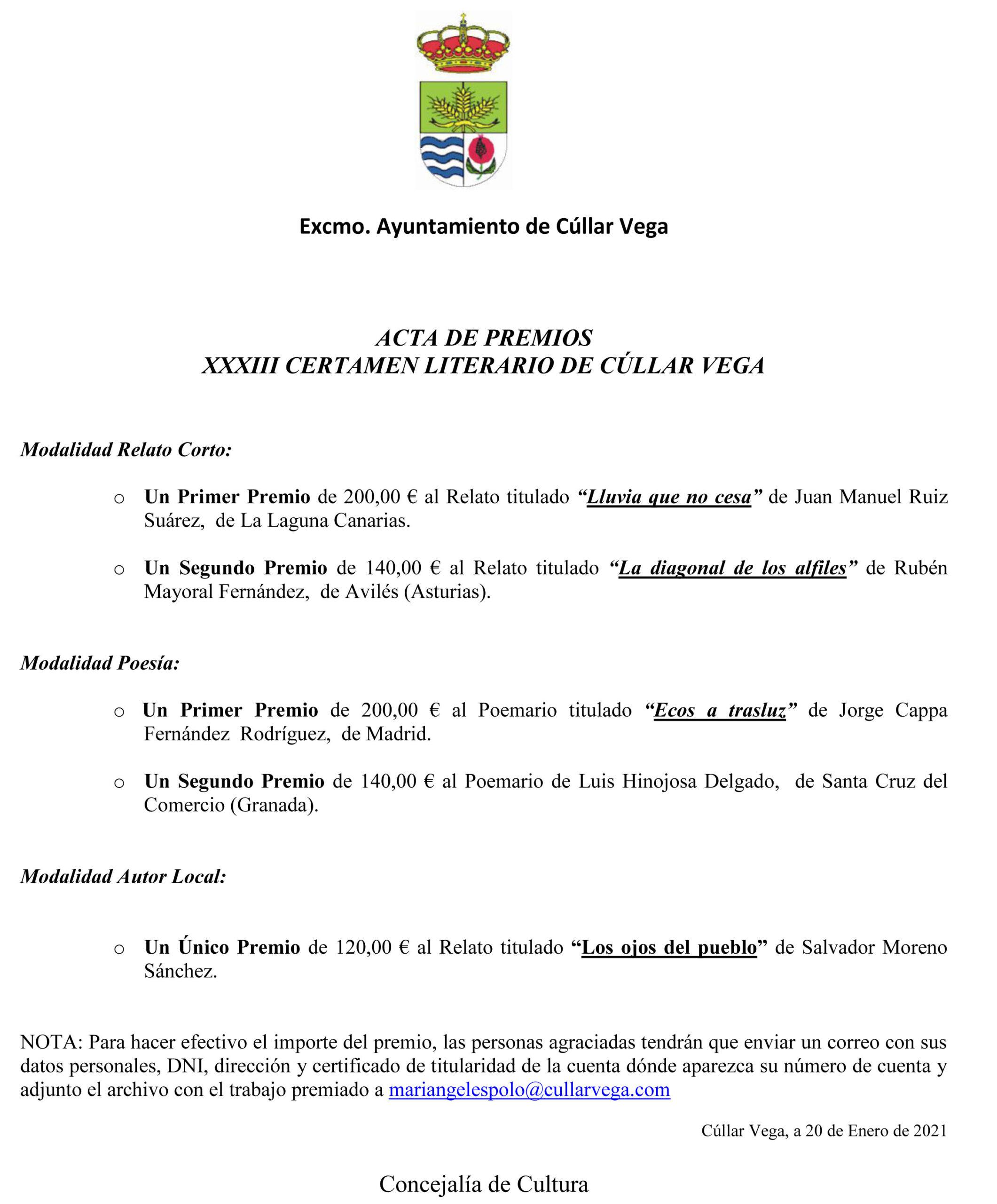 Premiados del XXXIII Certamen Literario de Cúllar Vega