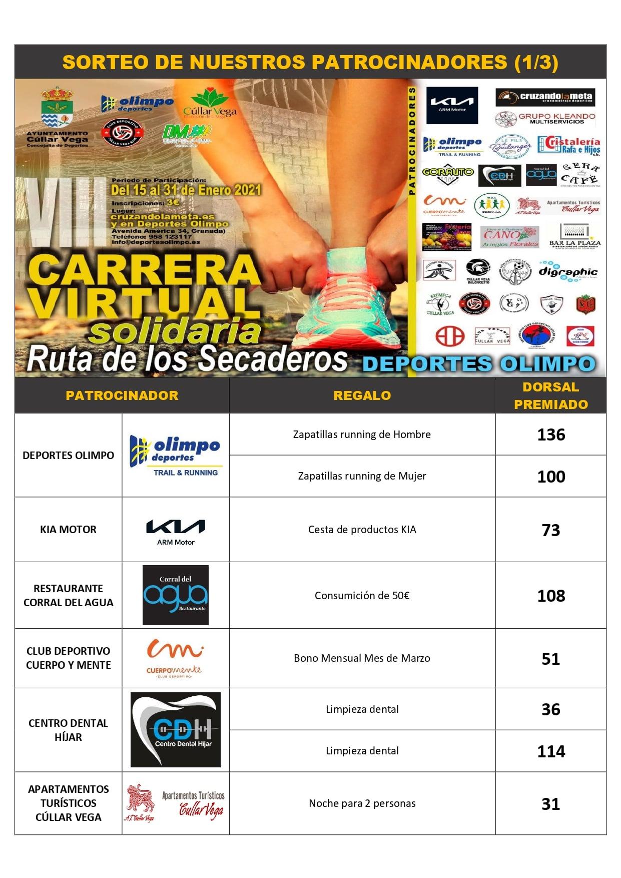 PREMIADOS SORTEO CARRERA POPULAR VIII EDICIÓN RUTA DE LOS SECADEROS - DEPORTES OLIMPO
