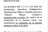 Horario Instalaciones Deportivas Semana Santa 2021