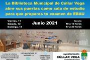 Cúllar Vega habilitará su sala de estudio para que los jóvenes preparen Selectividad