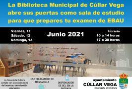 La Biblioteca Municipal de Cúllar Vega abre sus puertas como sala de estudio para que prepares tu examen EBAU